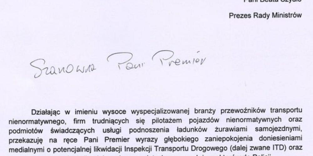 Pismo OSPTN do Prezes Rady Ministrów – Beaty Szydło
