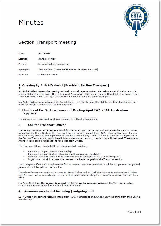 Protokół Spotkania Sekcji Transportu ESTA_okładka