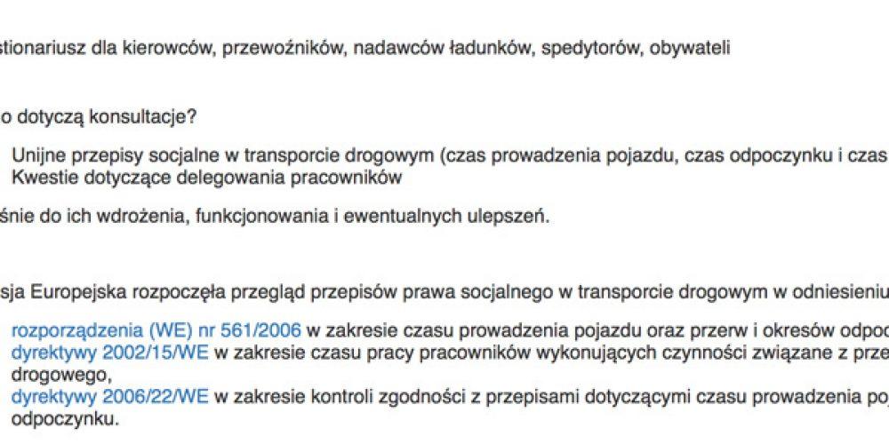 Kwestionariusz dla kierowców, przewoźników, nadawców ładunków, spedytorów i obywateli