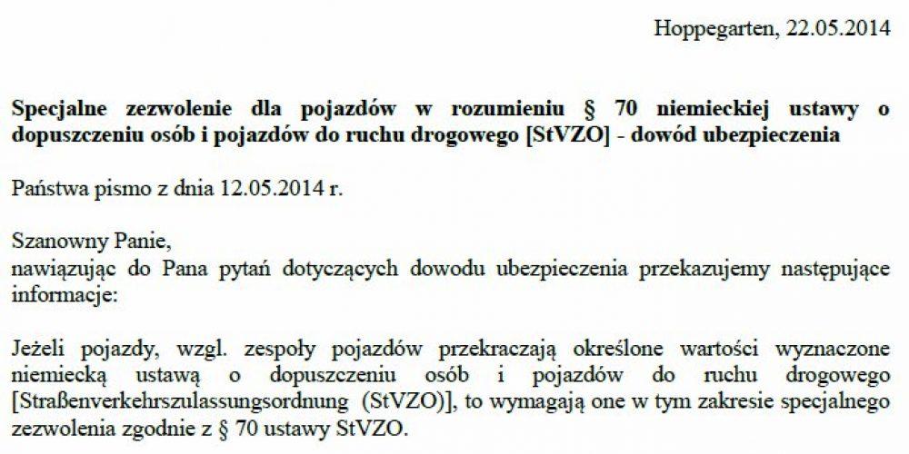 Czy polska polisa OC wystarcza, aby uzyskać par. 70?
