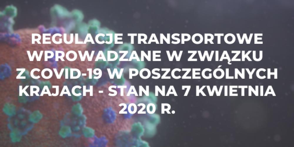 Regulacje transportowe wprowadzane w związku z COVID-19 w poszczególnych krajach – stan na 7 kwietnia 2020 r.
