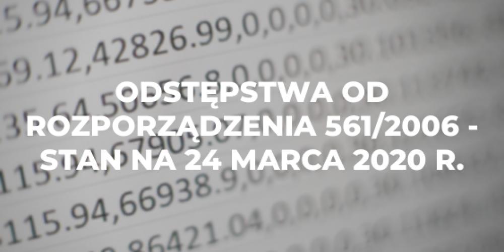 Odstępstwa od rozporządzenia 561/2006 – stan na 24 marca 2020 r.