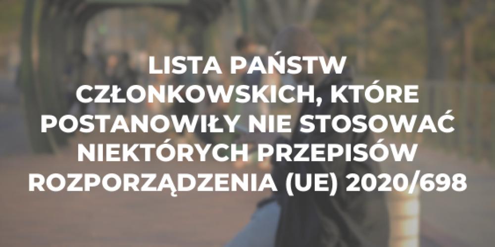 Lista państw członkowskich, które postanowiły nie stosować niektórych przepisów rozporządzenia (UE) 2020/698