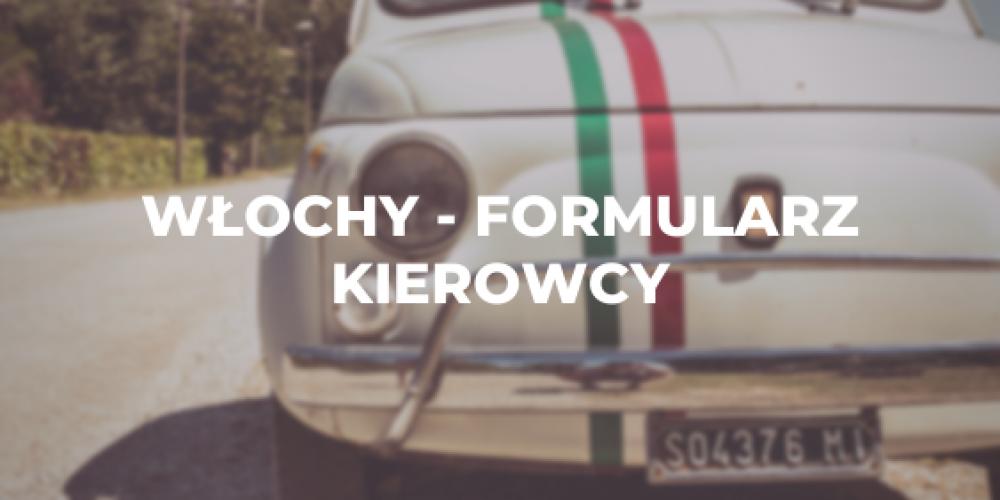 Włochy – formularz kierowcy